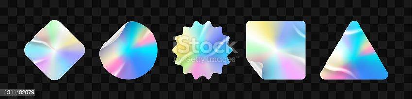 istock Holographic stickers. Hologram labels of different shapes. Sticker shapes for design mockups. Holographic textured stickers for preview tags, labels. Vector illustration 1311482079