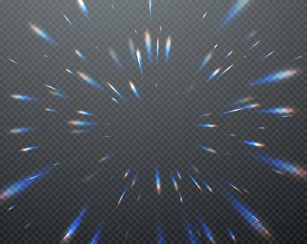 illustrazioni stock, clip art, cartoni animati e icone di tendenza di riflessi trasparenti olografici brillano isolati su sfondo scuro trasparente. illustrazione vettoriale - aureola