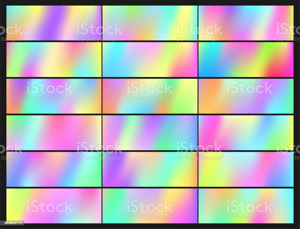 Holographic Vector Background. Iridescent Foil. Glitch Hologram. Pastel neon rainbow. royalty-free holographic vector background iridescent foil glitch hologram pastel neon rainbow stock vector art & more images of abstract