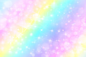 istock Holographic vector illustration in pastel color. Galaxy fantasy background. The Pastel sky with rainbow for unicorn. Clouds and sky with bokeh. 966519942