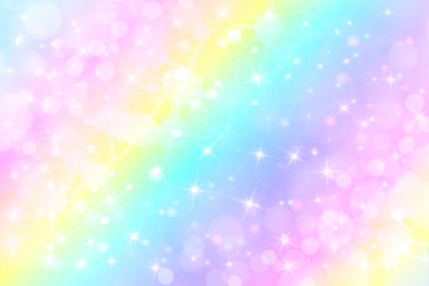 holographic vector illustration in pastel color. galaxy fantasy background. the pastel sky with rainbow for unicorn. clouds and sky with bokeh. - unicorns stock illustrations