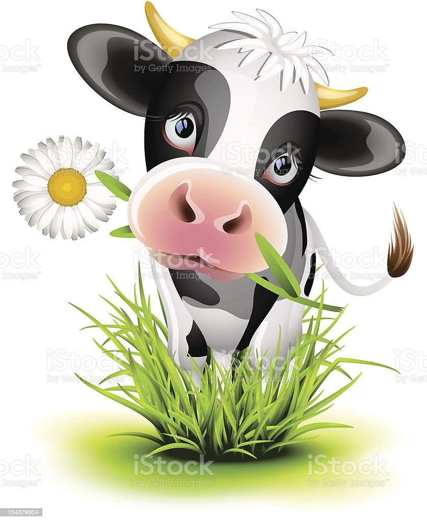 Holstein cow in grass vector art illustration