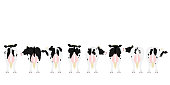 istock Holstein Friesian cattle in a row rear view 1225687088