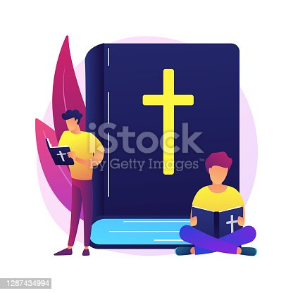 istock Holy bible abstract concept vector illustration. 1287434994