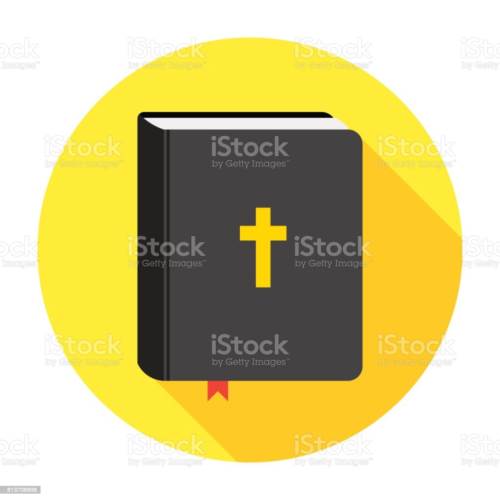 Holy Bible book icon. Flat vector illustration