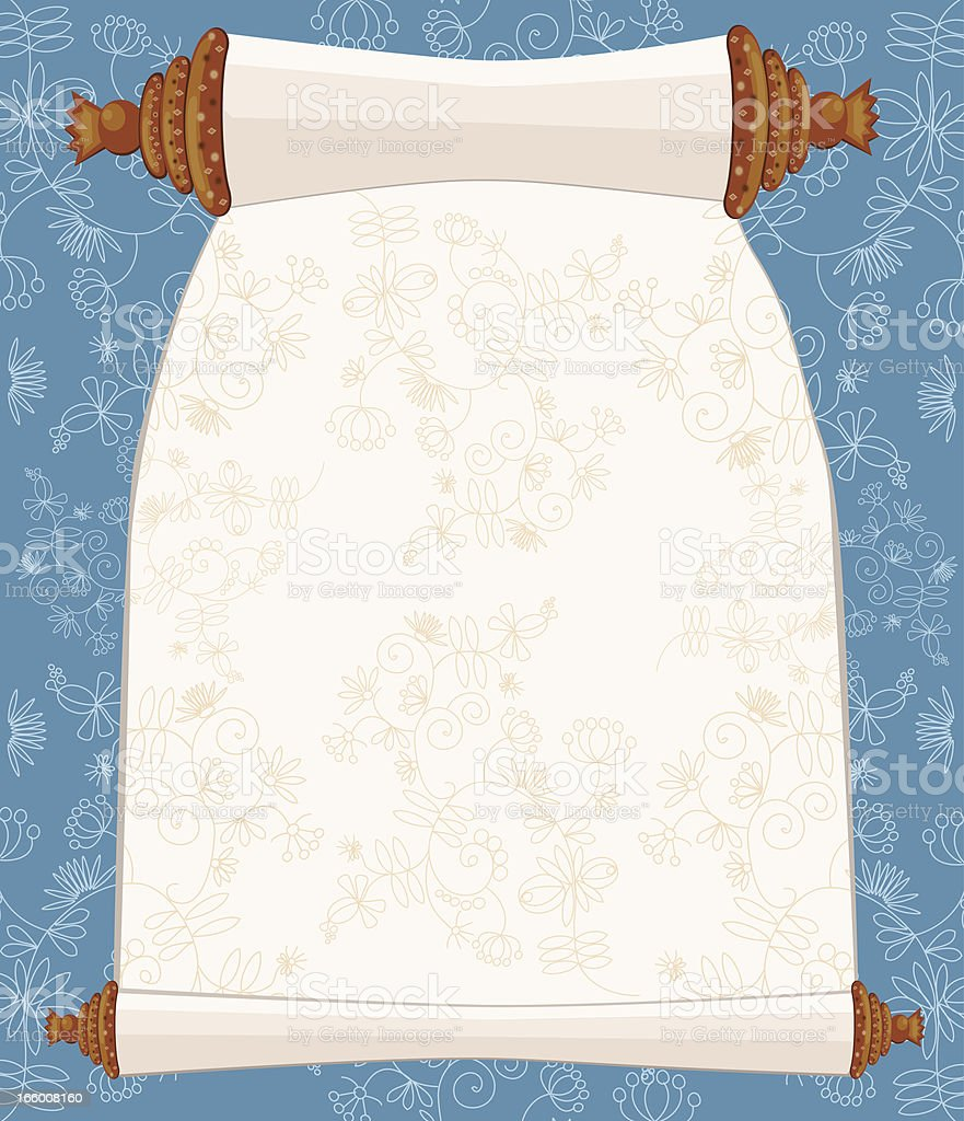 Holy Book Scroll On Floral Background vector art illustration