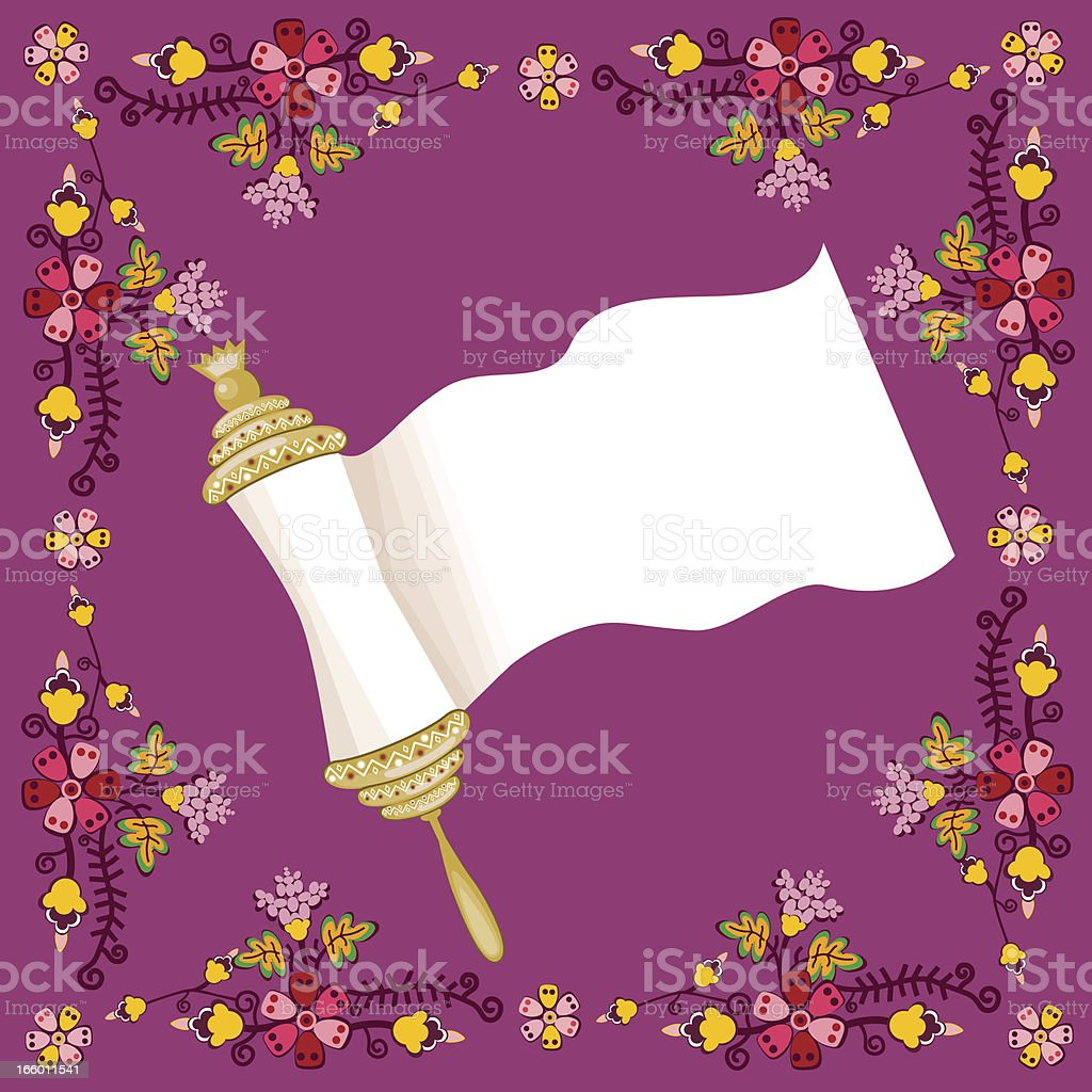 Holy Book Scroll On Floral Background royalty-free stock vector art