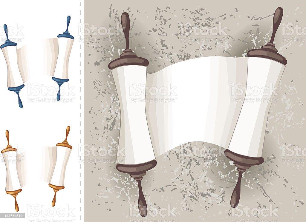 Holy Book Scroll On Grunge Background vector art illustration