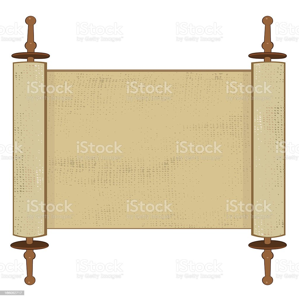 Holy Book Scroll On White Background vector art illustration