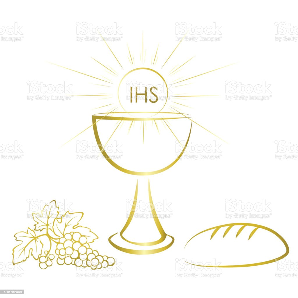 Holy Communion Symbols Wine Bread And Chalice With Jesus Christ Body