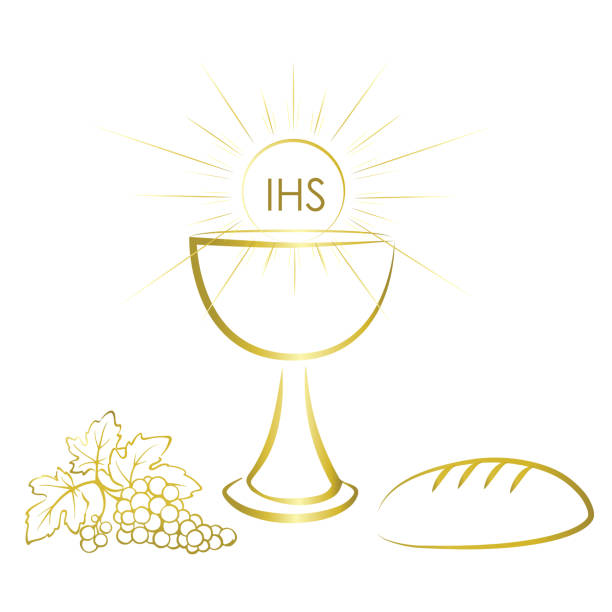 holy communion symbols - wine, bread and chalice with jesus christ body. - communion stock illustrations, clip art, cartoons, & icons