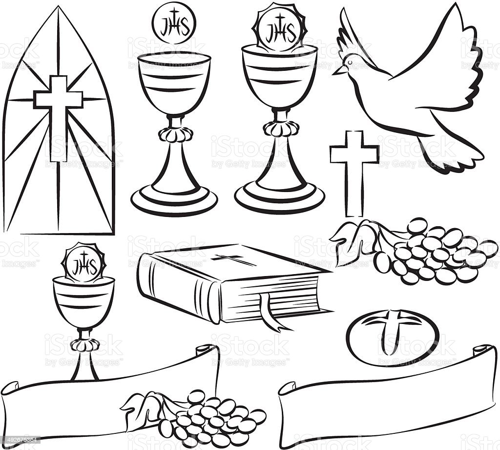 holy communion - vector symbols vector art illustration