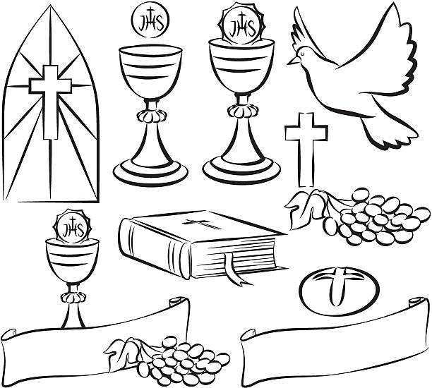 holy communion - vector symbols - communion stock illustrations, clip art, cartoons, & icons