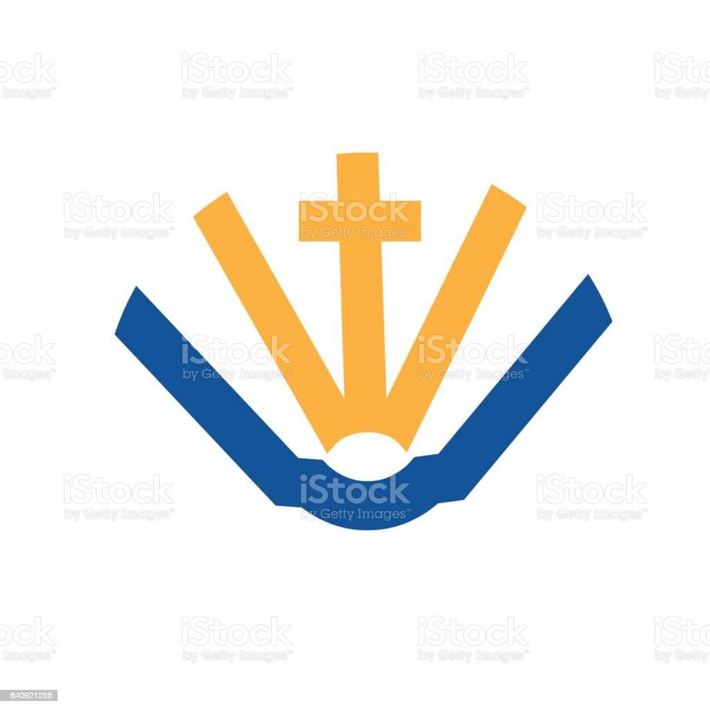 Holy Cross and Holy Book vector art illustration