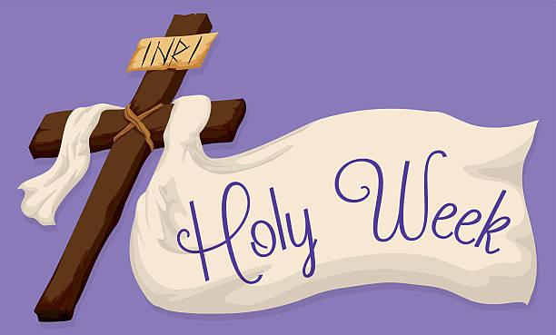 Holy Cross with a Large Fabric with Holy Week Text Wooden Holy Cross with a white fabric and a Holy Week message in purple background. lent stock illustrations