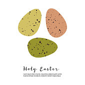 Holy Easter. Cute colored Easter egg. Eco rustic decoration. Vector flat cartoon illustration, isolated on white. Perfect for poster, print, card, invitation, greeting, tag