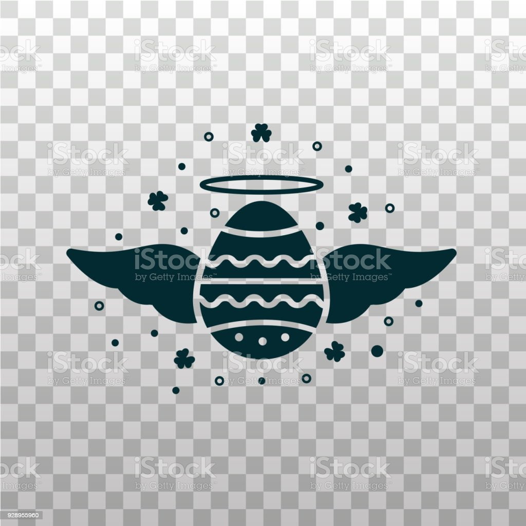 Holy Easter Egg With Wings And Halo Black Color Silhouette Icon