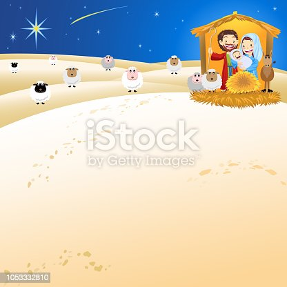Holy family with sheep in holy night.