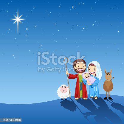 Holy family with star of bethlehem.
