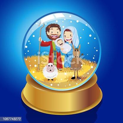 Nativity scene inside the snow globe.