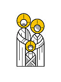 abstract Holy family Christmas card.  You can edit the colors or sizes easily if you have Adobe Illustrator or other vector software. All shapes are vector