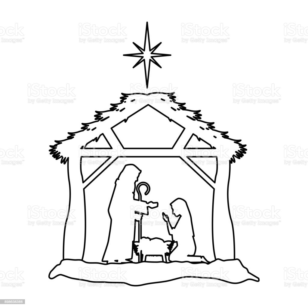 Christmas Stable Drawing.Holy Family Silhouette In Stable Christmas Characters Stock