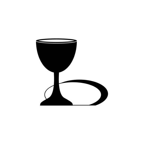 ilustraciones, imágenes clip art, dibujos animados e iconos de stock de icono del santo grial. elemento de icono de la cultura religiosa. icono de diseño gráfico de calidad premium. signos, símbolos de contorno icono de colección de sitios web, diseño web, aplicaciones móviles - comunión
