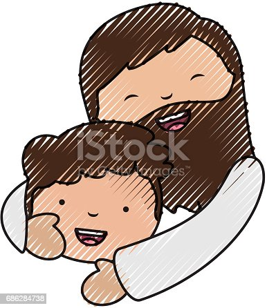 istock holy jesuschrist with boy character icon 686284738
