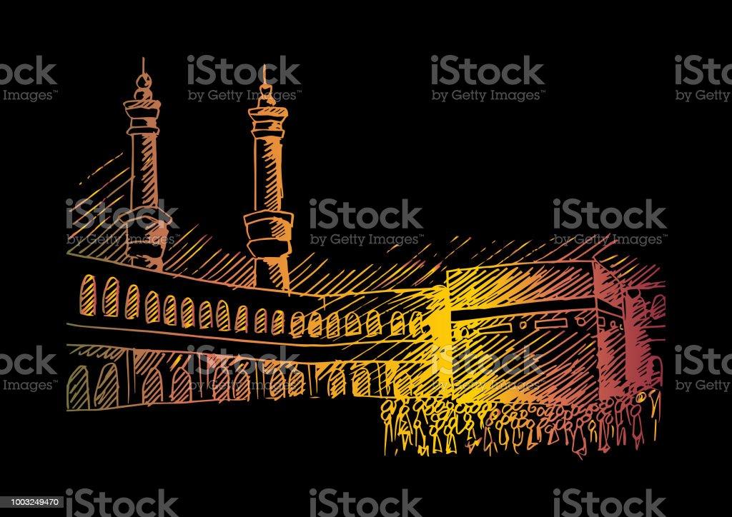 Holy Kaaba in Mecca Saudi Arabia vector art illustration