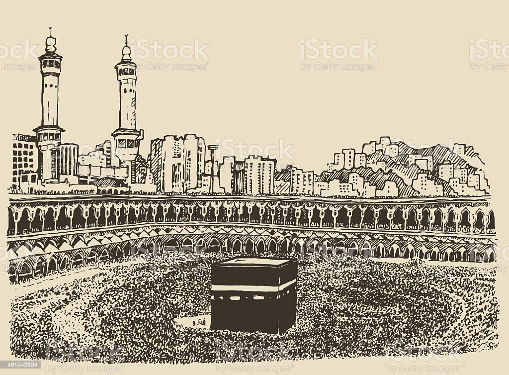 Holy Kaaba Mecca Saudi Arabia muslim people sketch vector art illustration
