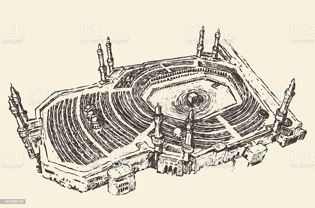 Holy Kaaba Mecca Saudi Arabia muslim sketch vector art illustration