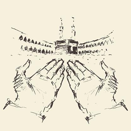 Holy Kaaba Mecca Saudi Arabia praying hands drawn