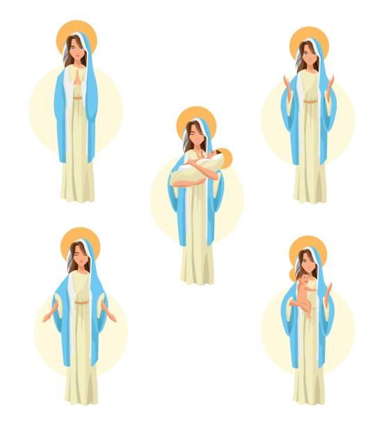 heilige maria baby jesus symbol. vektorgrafik - jungfrau stock-grafiken, -clipart, -cartoons und -symbole