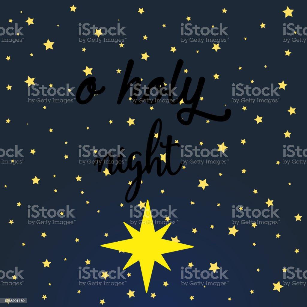 Ilustración De Oh Noche Santa Letras De La Frase De