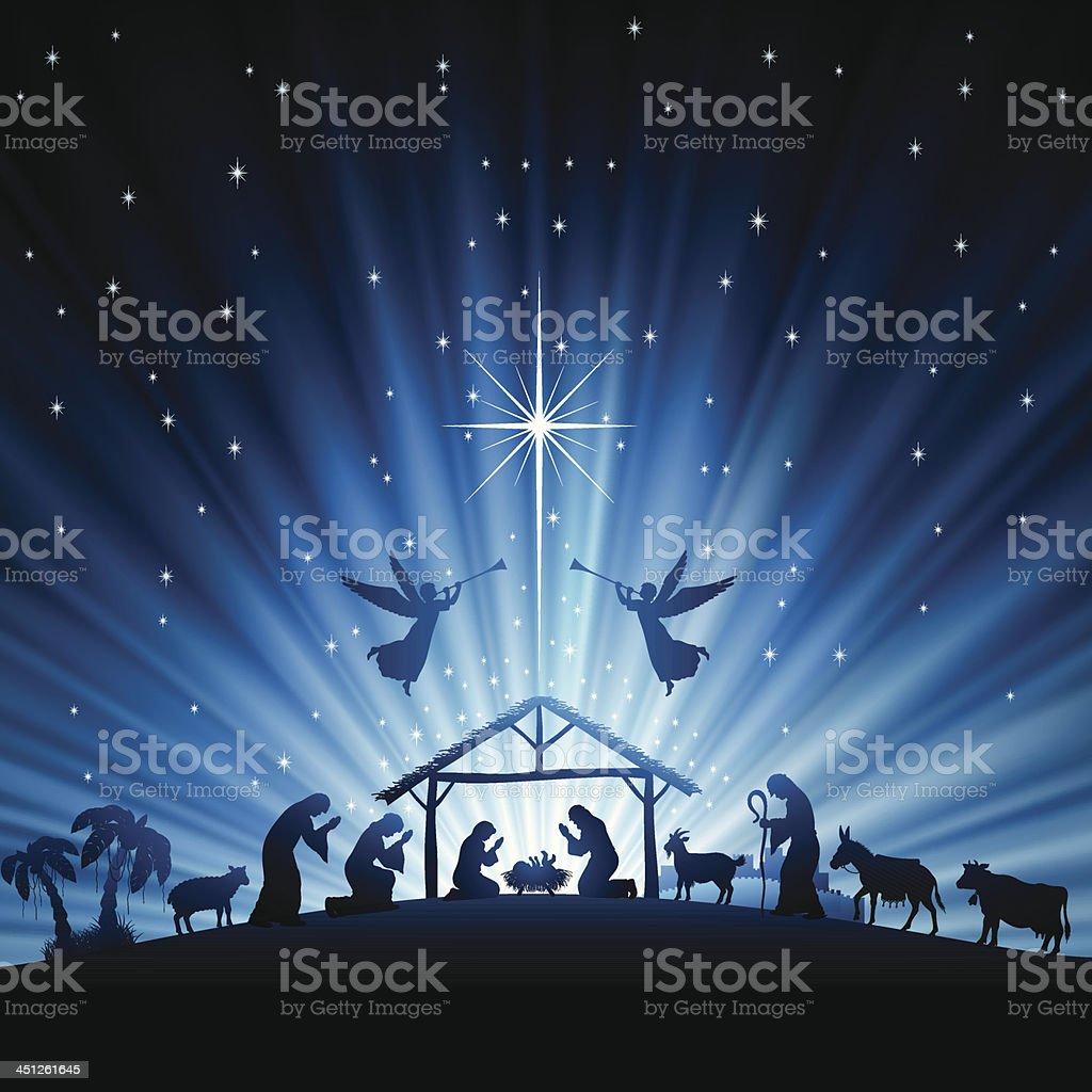 Holy Night Scene vector art illustration