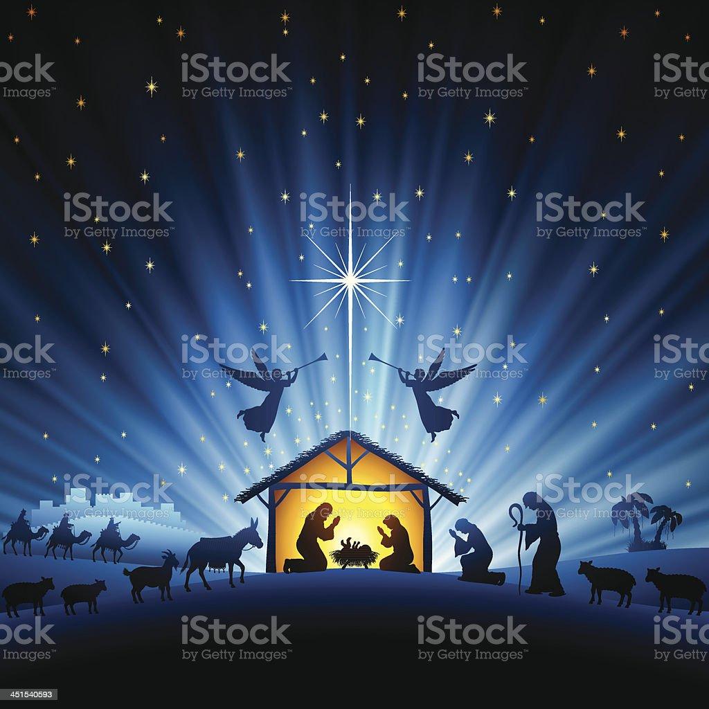 Sainte scène de nuit - clipart vectoriel de Agenouillé libre de droits