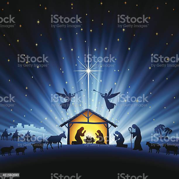 Sainte Scène De Nuit Vecteurs libres de droits et plus d'images vectorielles de Agenouillé