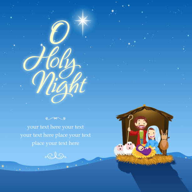 O holy night Holy family and holy night. trough stock illustrations