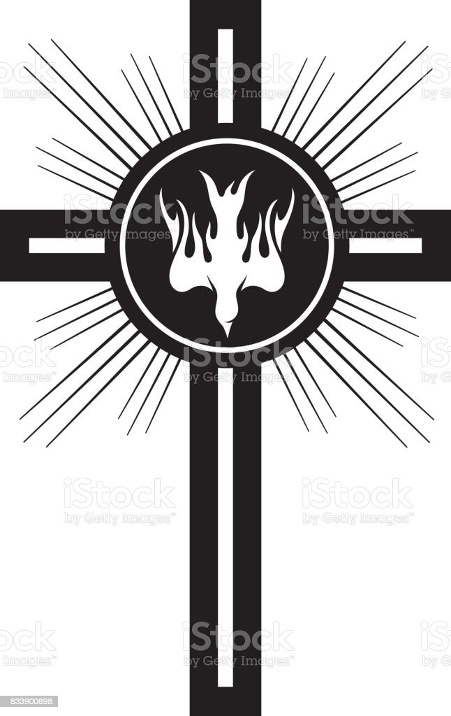 Holy Spirit Crucifix vector art illustration