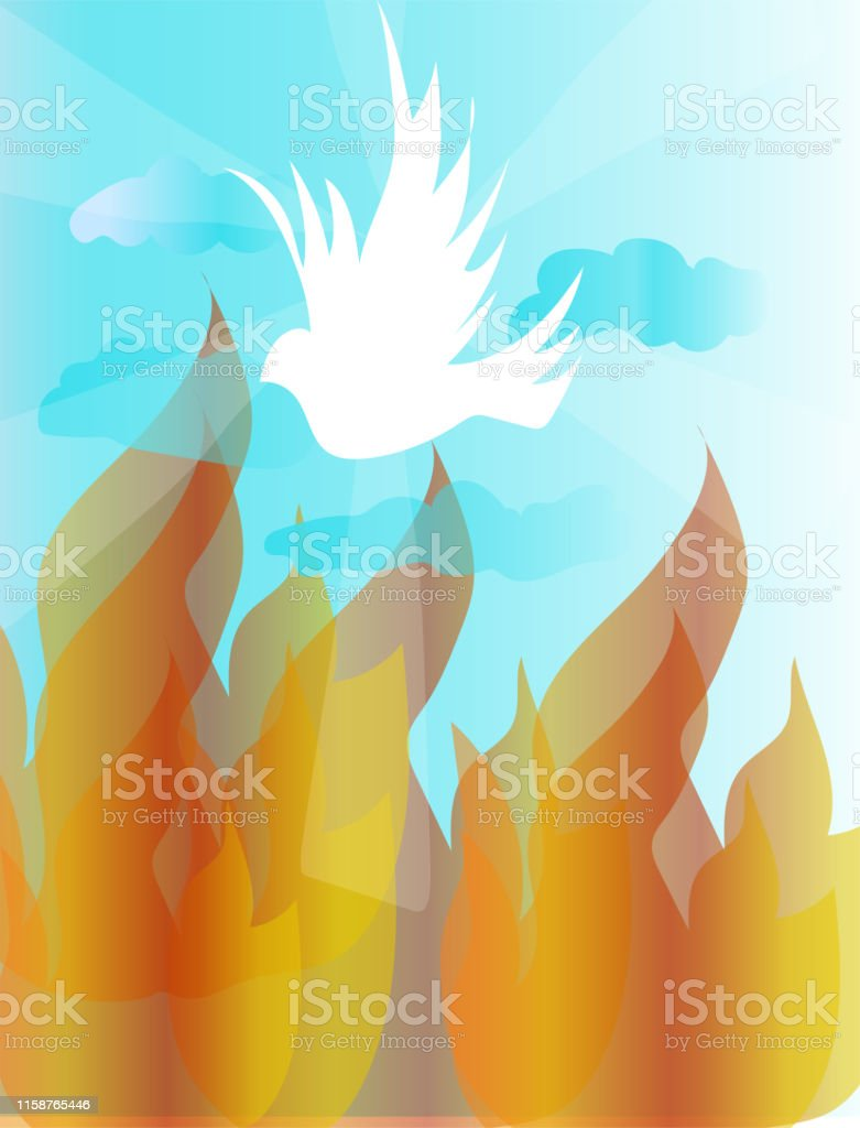 Holy Spirit Dove And Fire On The Sky Stock Illustration - Download