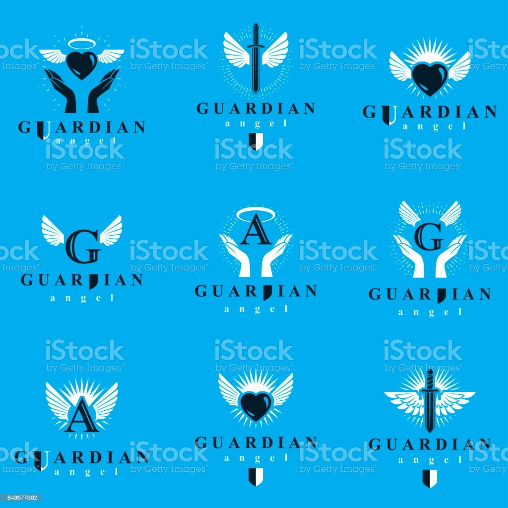 Holy spirit graphic vector icons collection, can be used in charity and catechesis organizations. Vector emblems created using battle swords, loving hearts and guardian shields.
