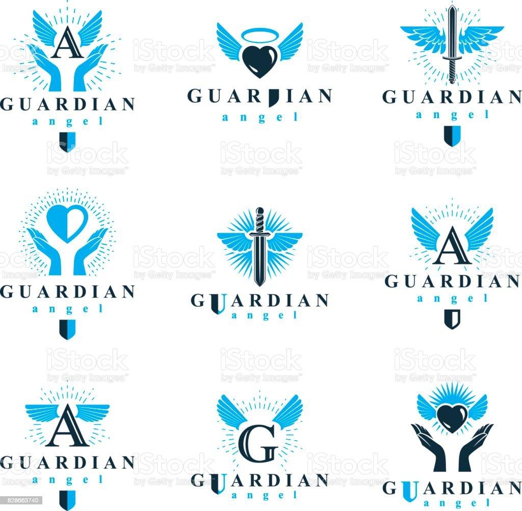 聖霊グラフィック ベクトルの記号のコレクションは、慈善と教理の組織で使用できます。戦い剣、愛する心と守護の盾を使用して作成したエンブレムをベクトルします。 ベクターアートイラスト