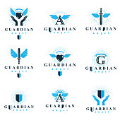 Holy spirit graphic vector symbols collection, can be used in charity and catechesis organizations. Vector emblems created using battle swords, loving hearts and guardian shields.