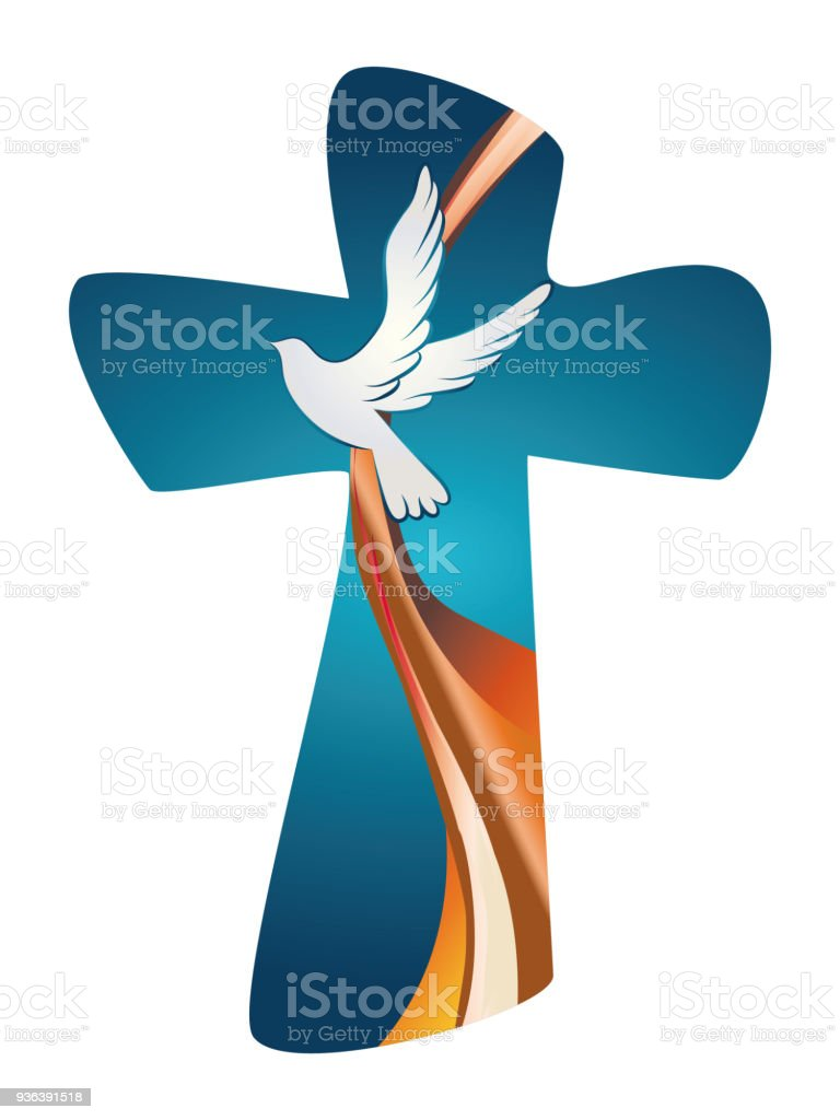 Holy Spirit Symbol Christian Cross With Dove On Blue Background