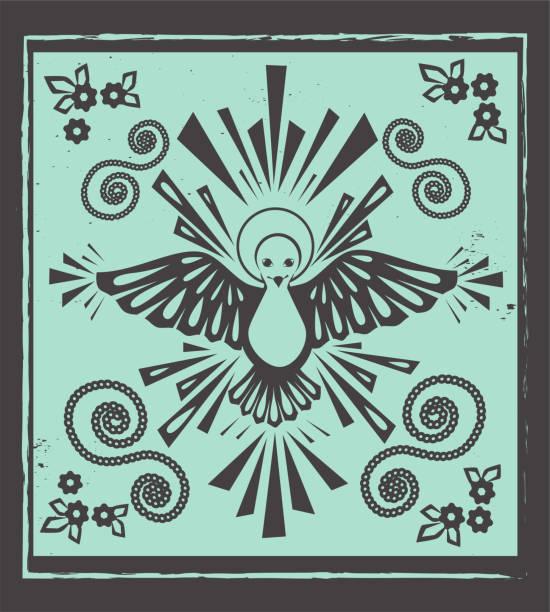 heilige alkohol taube vektor - holzschnitt stock-grafiken, -clipart, -cartoons und -symbole