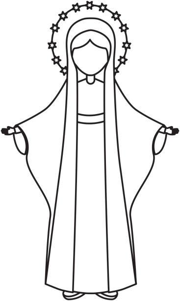 heilige jungfrau maria-symbol - jungfrau stock-grafiken, -clipart, -cartoons und -symbole