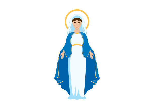 illustrazioni stock, clip art, cartoni animati e icone di tendenza di holy virgin mary icon vector - ferragosto