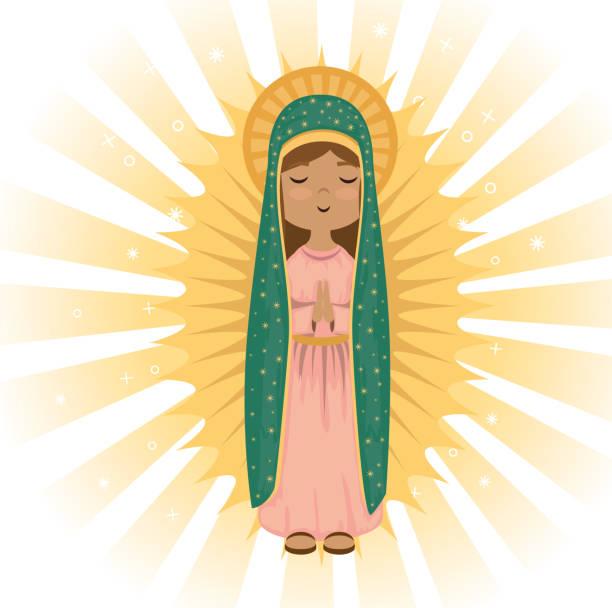 stockillustraties, clipart, cartoons en iconen met heilige maagd van guadalupe religieuze kaart - onschuld