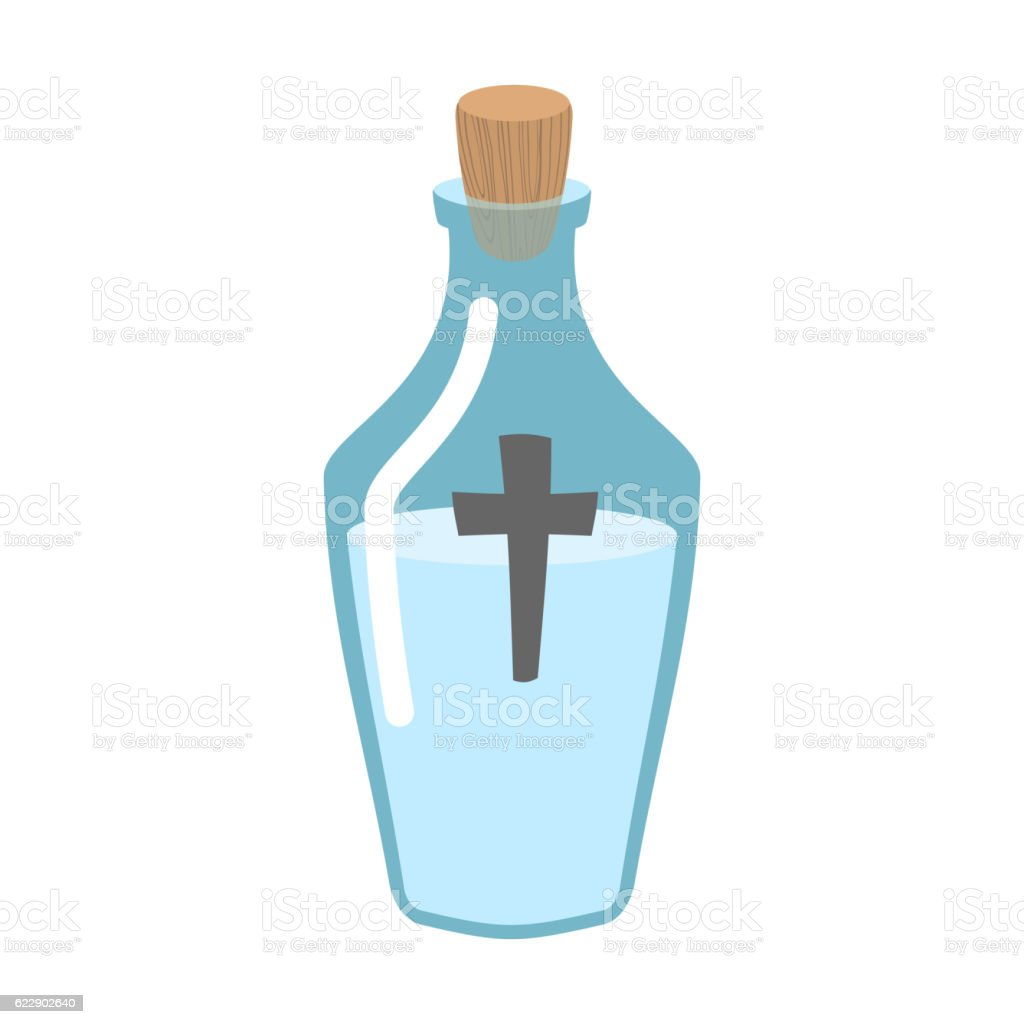 Holy water bottle. Glass flask with magic liquid. Magical potion vector art illustration
