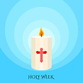 Holy week banner with a Paschal candle